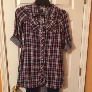 New Pink and Blue Plaid Button Down Top